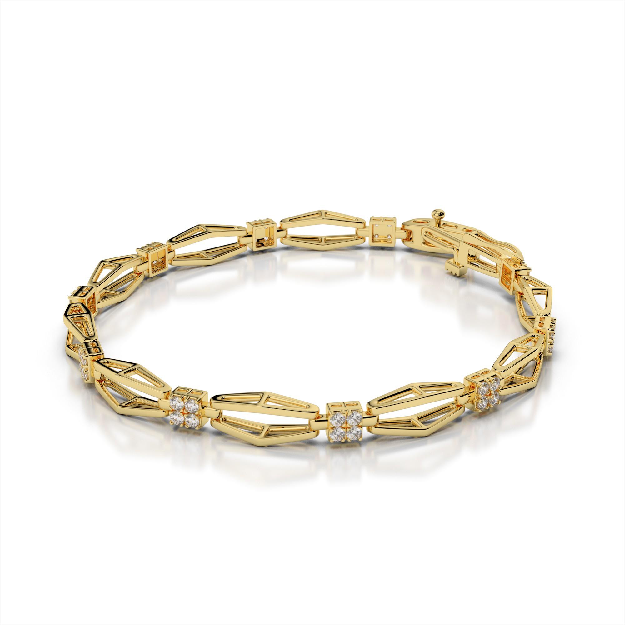 Diamond Open Fluted Link Bracelet
