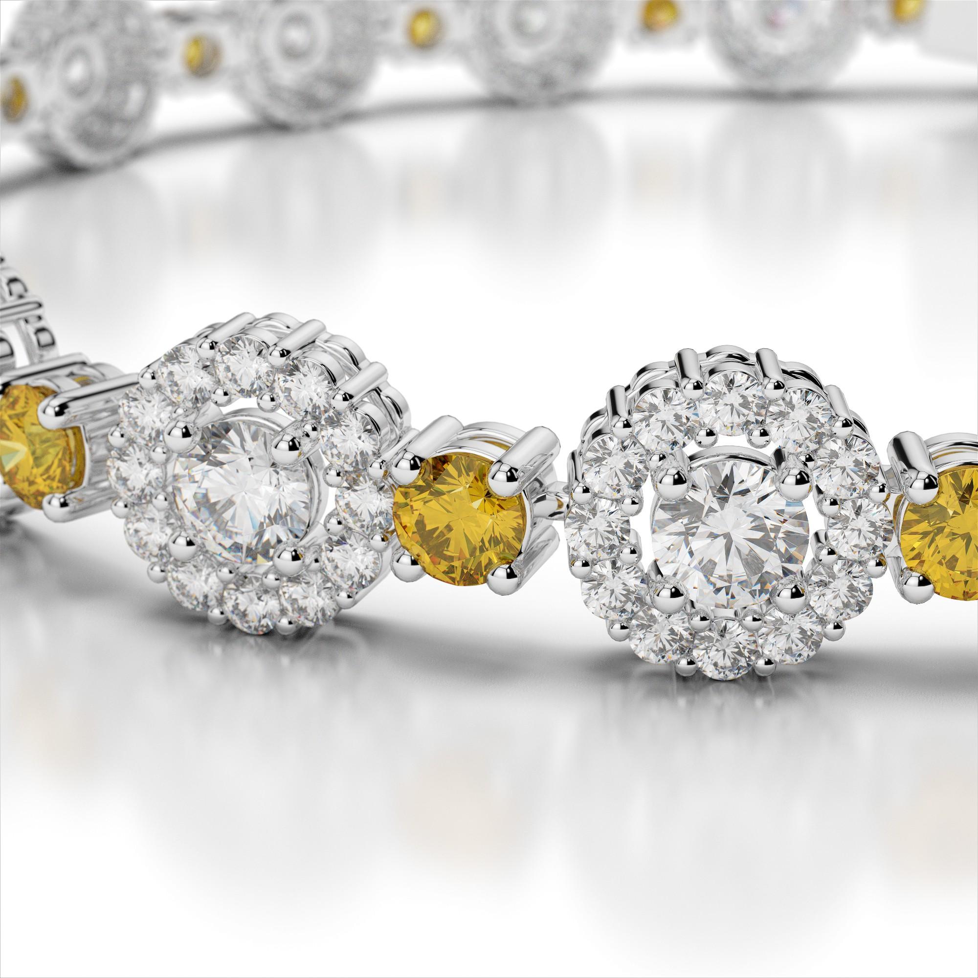 Round Link Diamond and Gemstone Bracelet