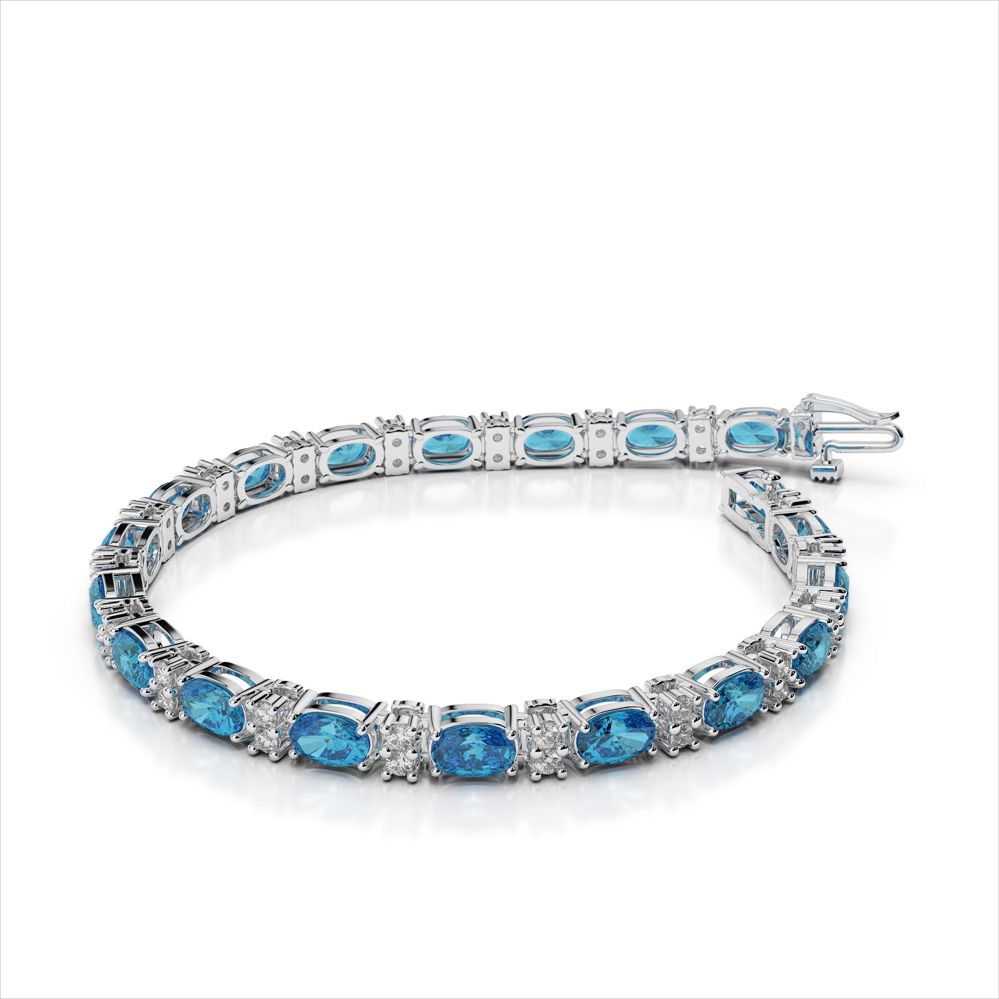Oval 5x3mm Gemstone and Diamond Bracelet