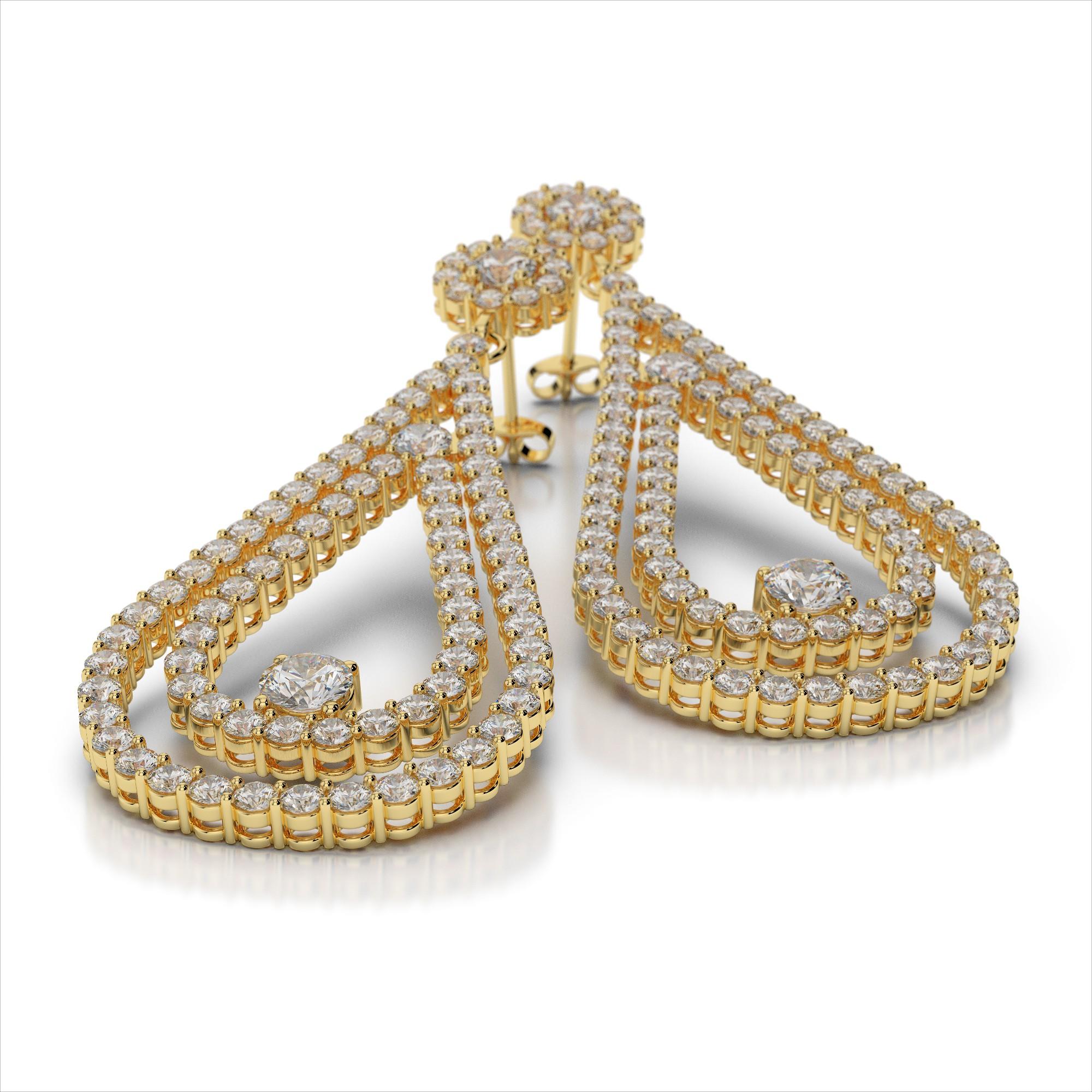 Double Tear Drop Diamond Drop Earrings