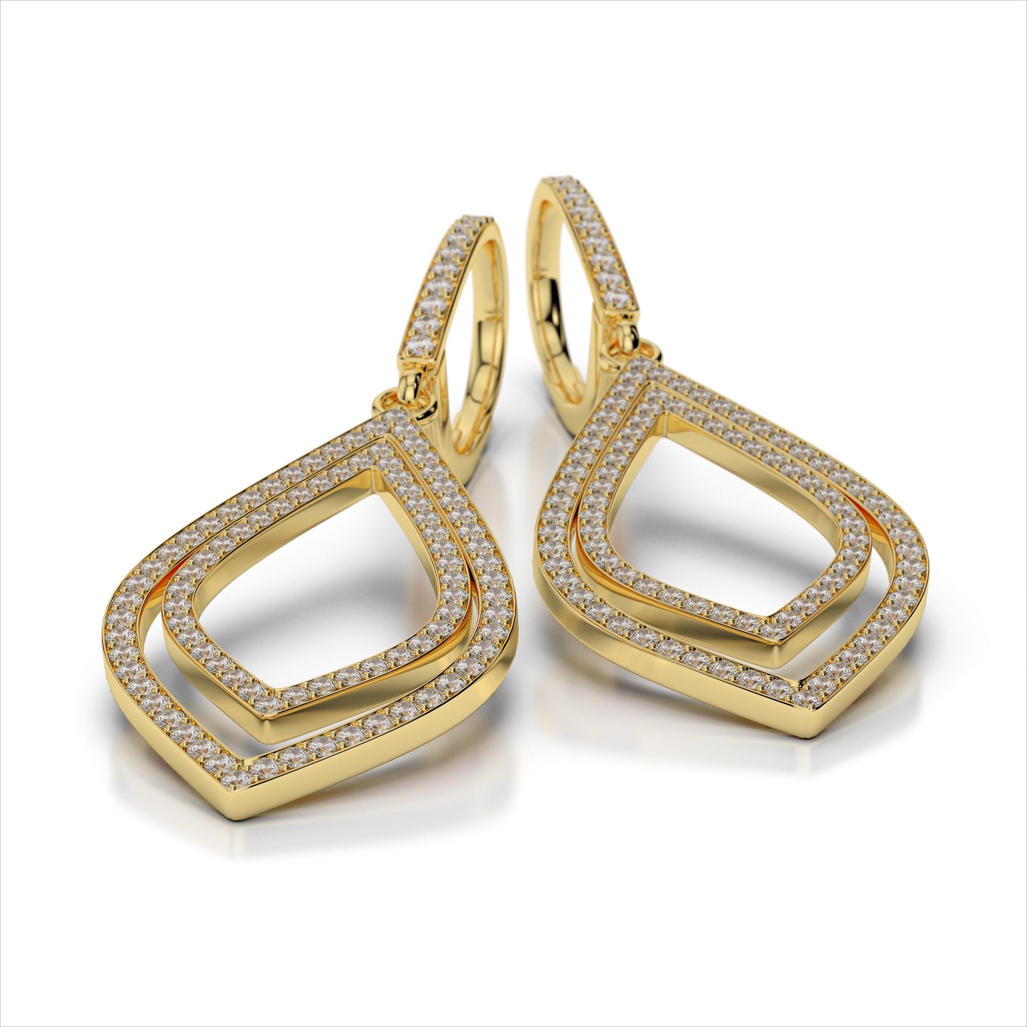 Double Leaf Diamond Drop Earrings