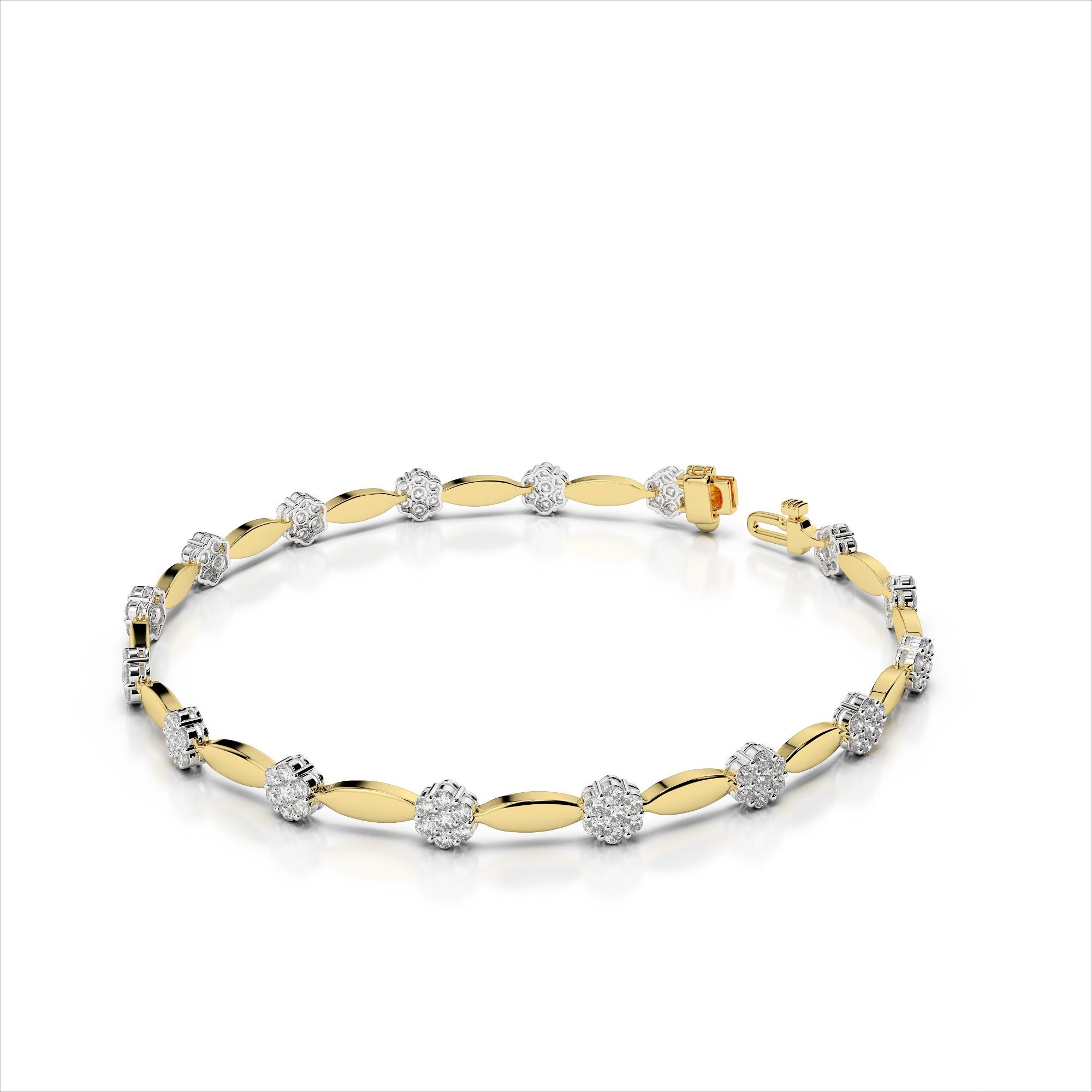 Diamond Cluster Link Bracelet