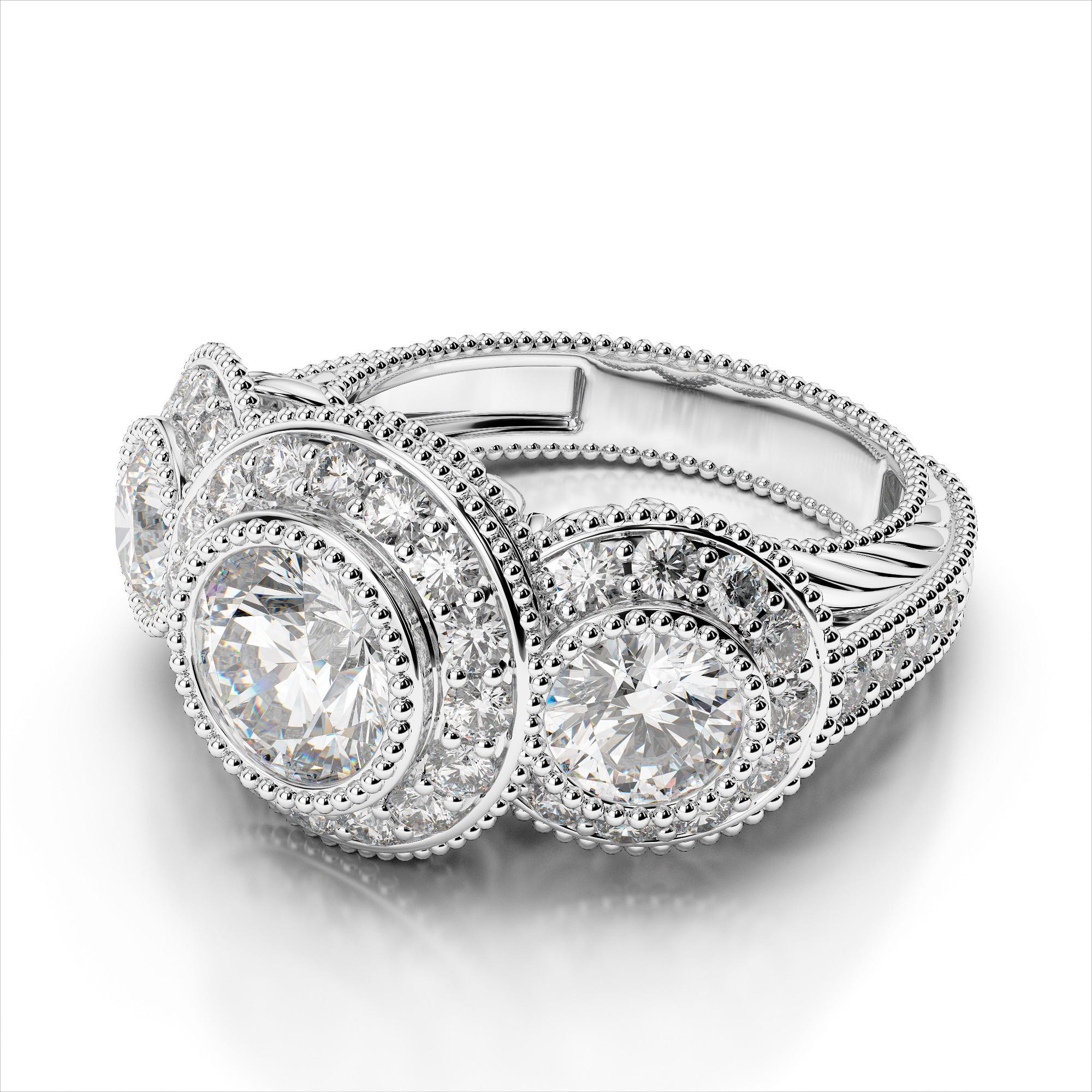 Three Stone Bezel Diamond Vintage Engagement Ring