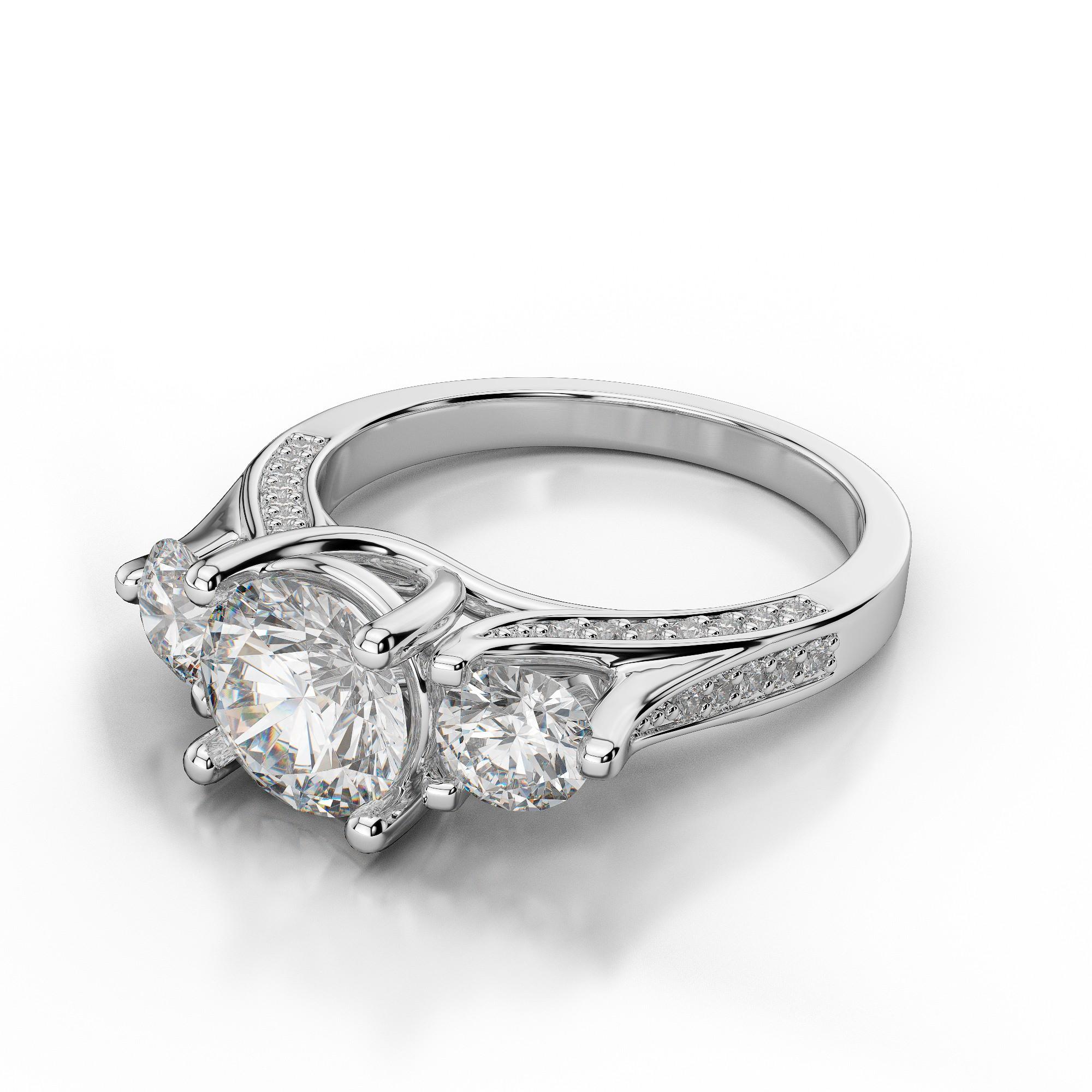 Pave Diamond Three Stone Engagement Ring