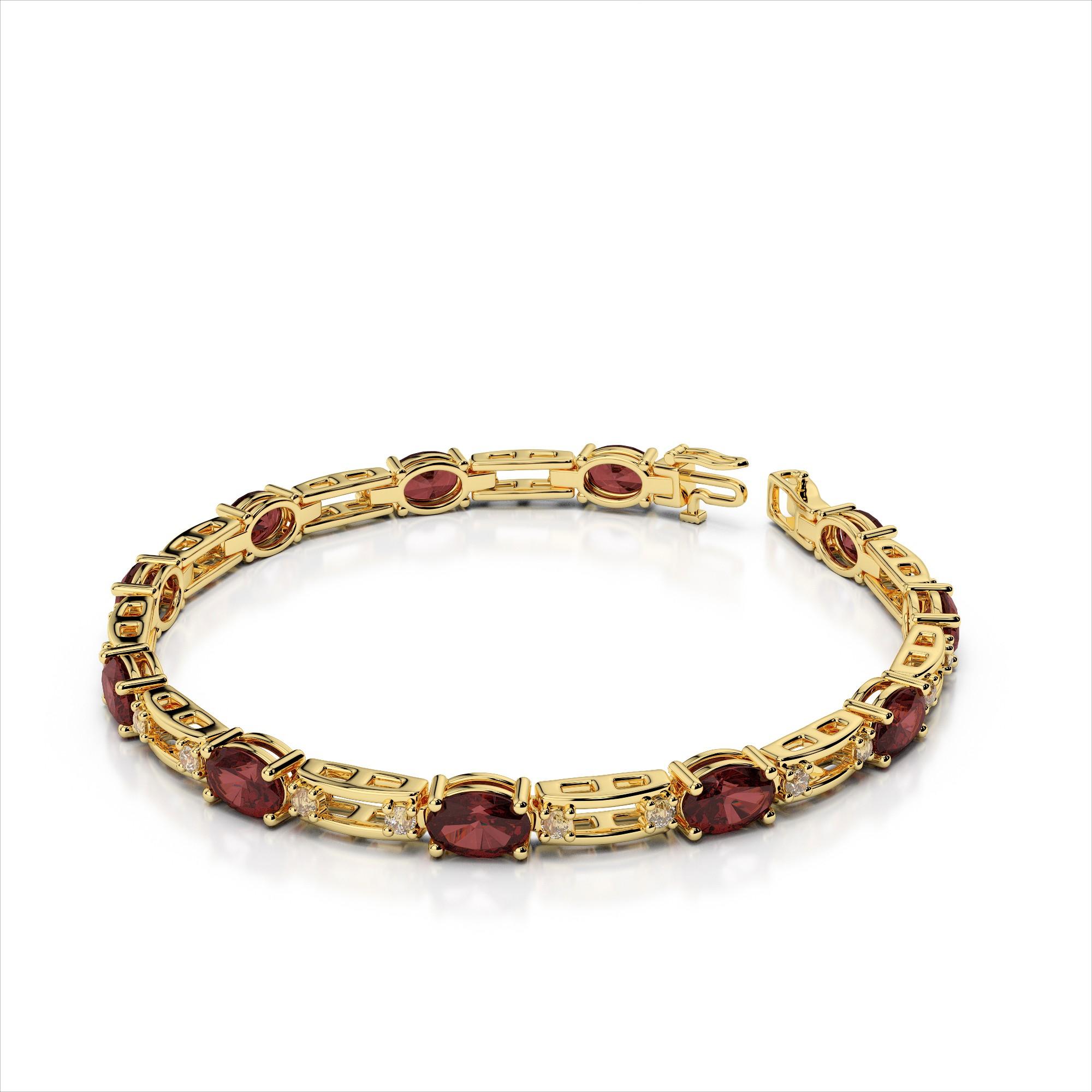 Oval Eleven 5x3mm Gemstone Diamond Bracelet