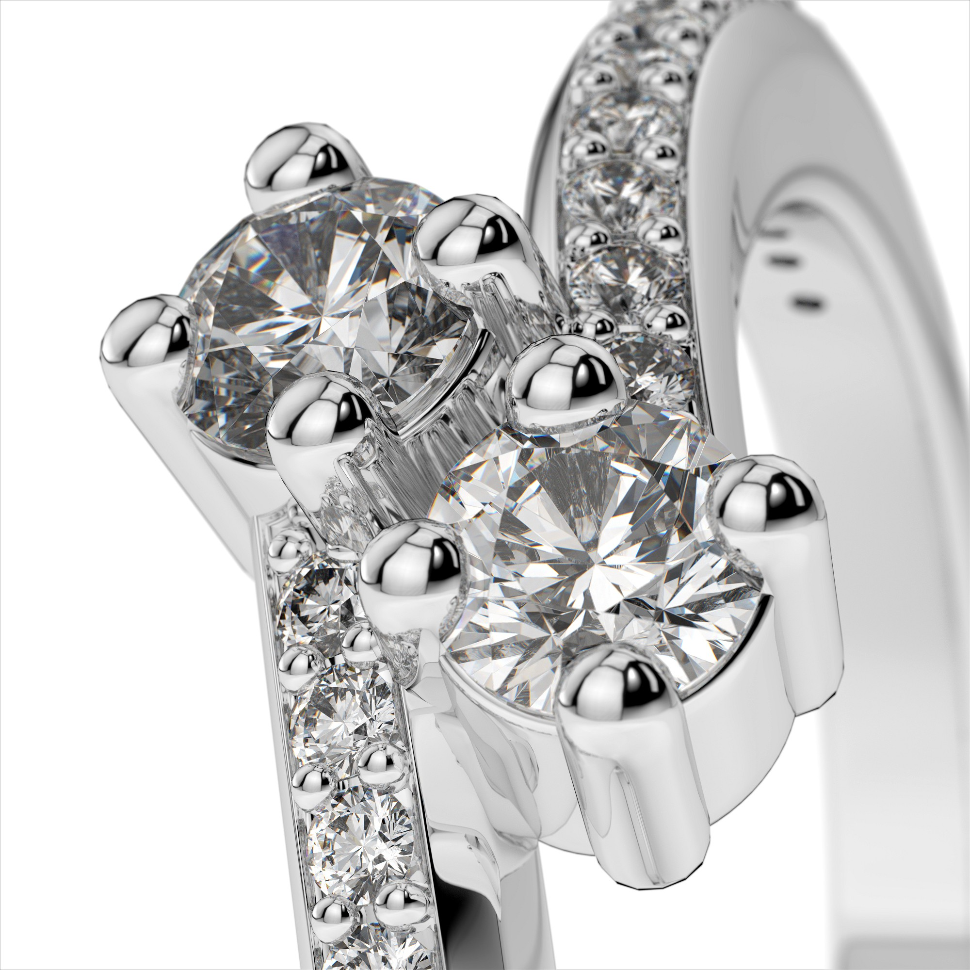 Two Diamond Bypass Ring