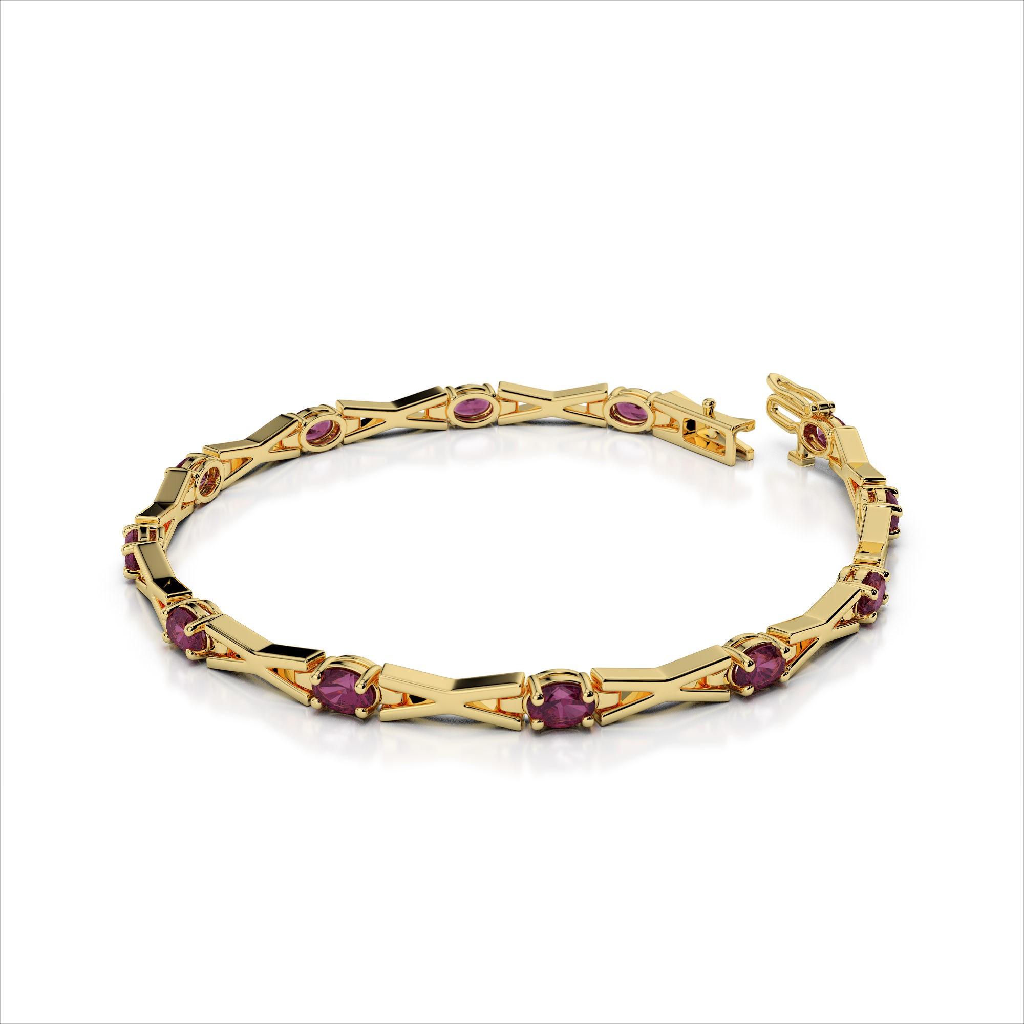 Cross Link 5x3mm Colored Stone Bracelet