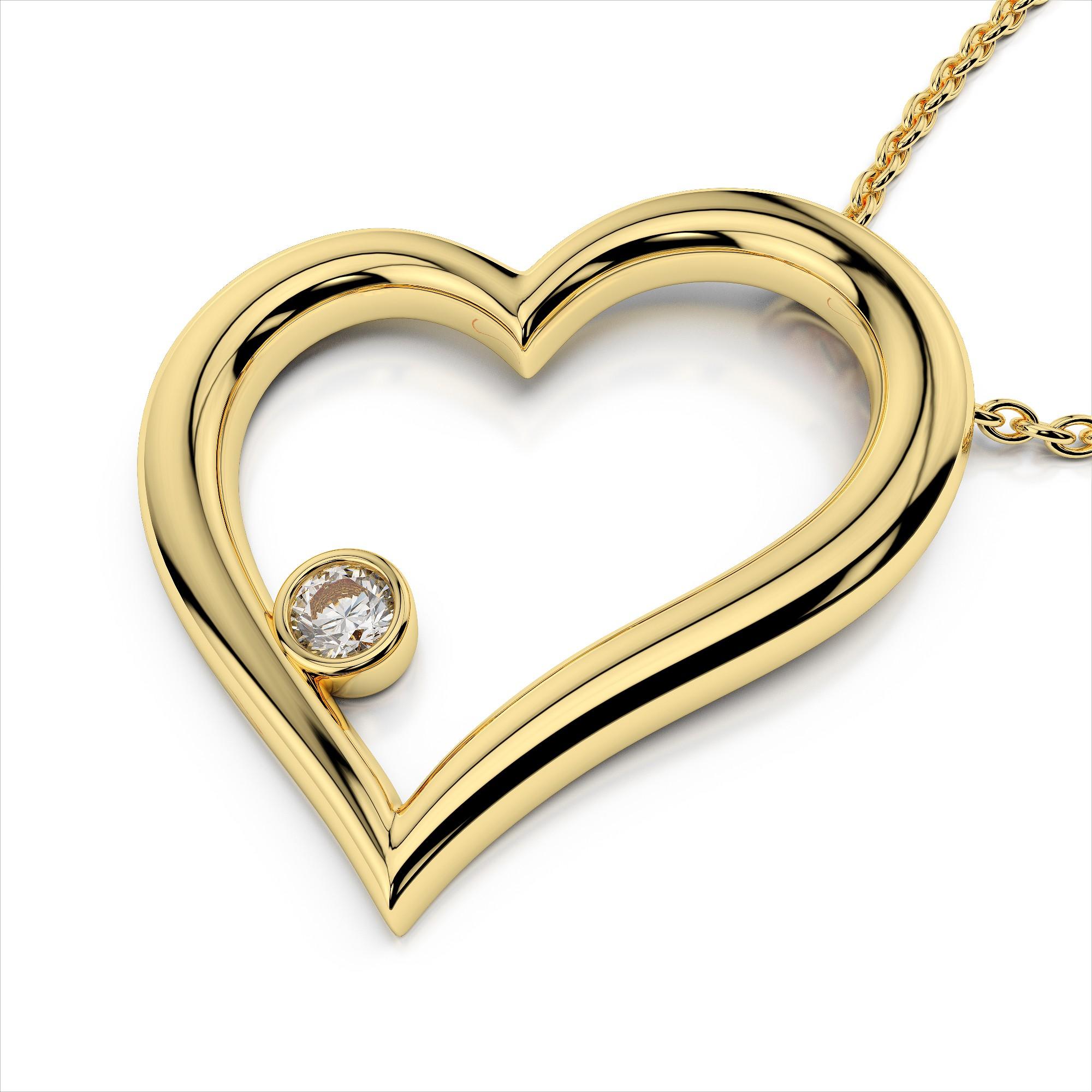 Bezel Diamond Heart Pendant