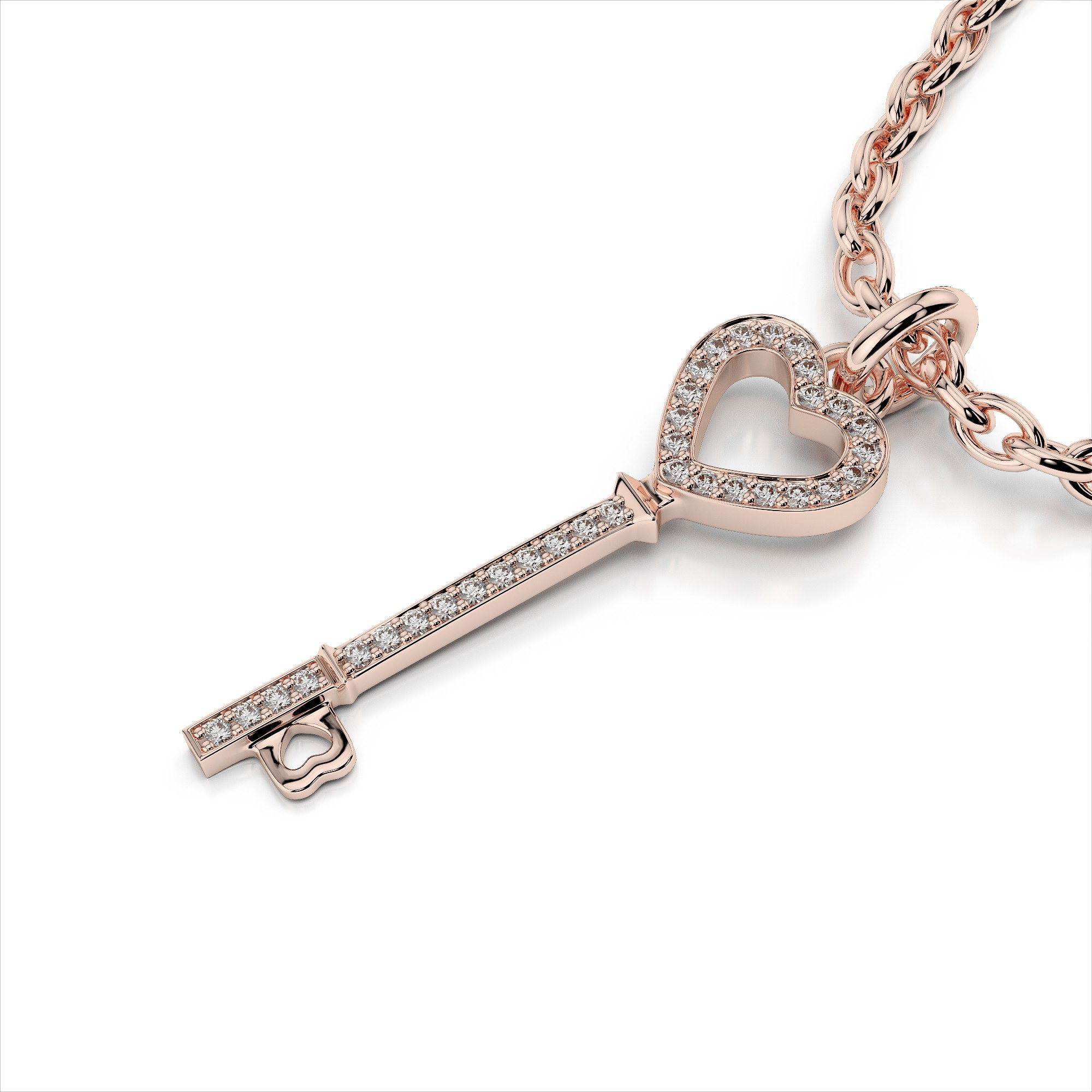 Diamond Heart Key Pendant