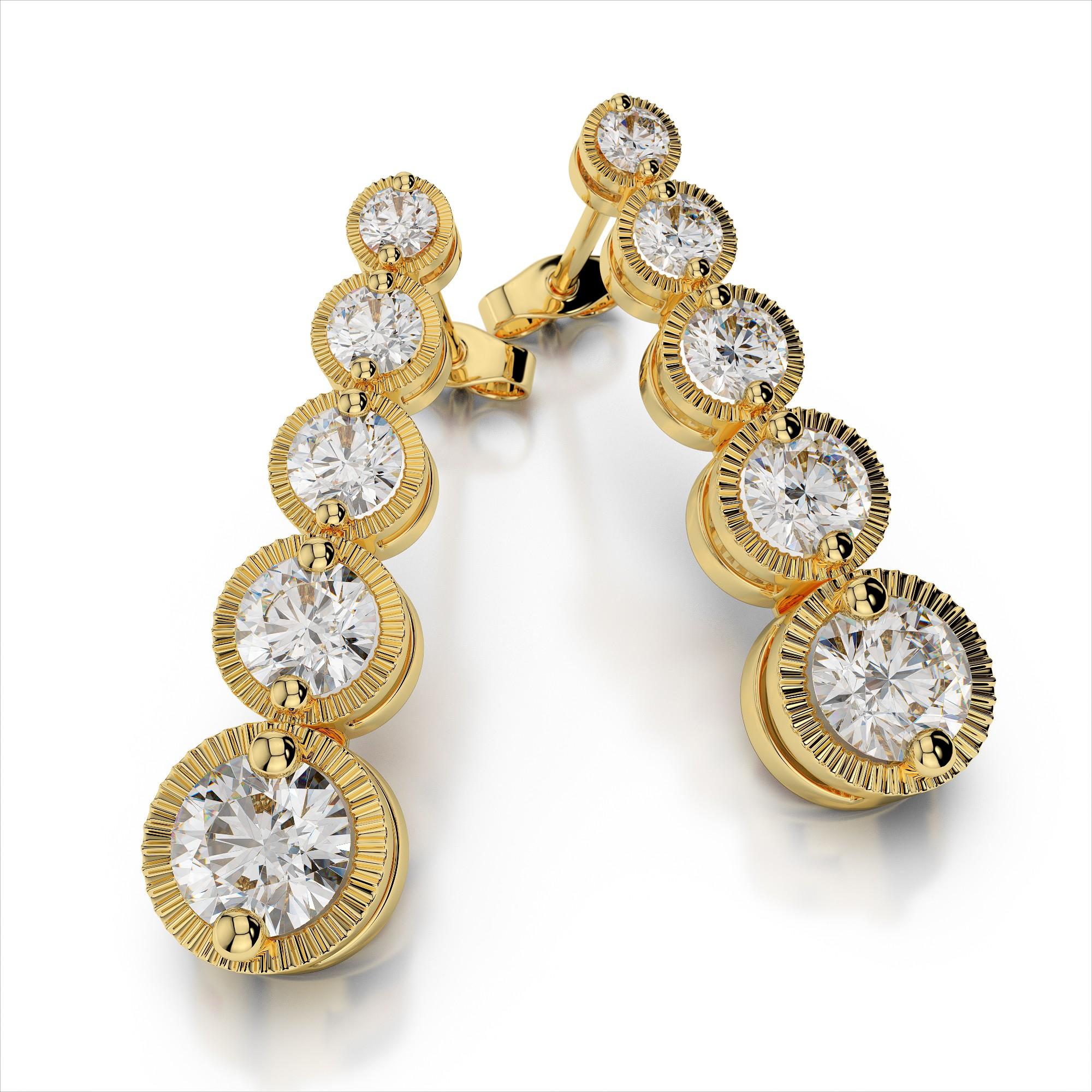 Diamond Journey Earrings with Milgrain