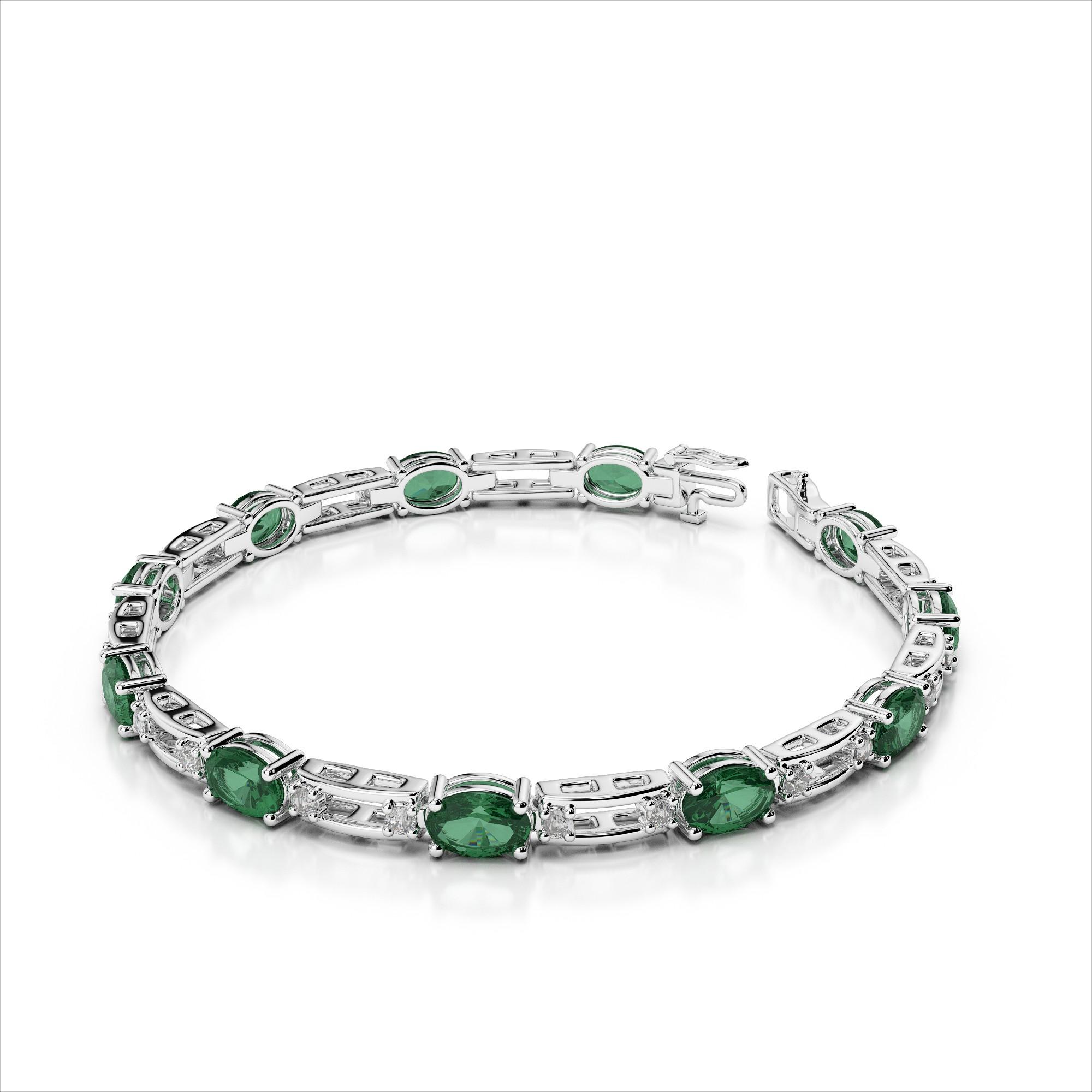 Five Oval 6x4mm Gemstone Diamond Bracelet