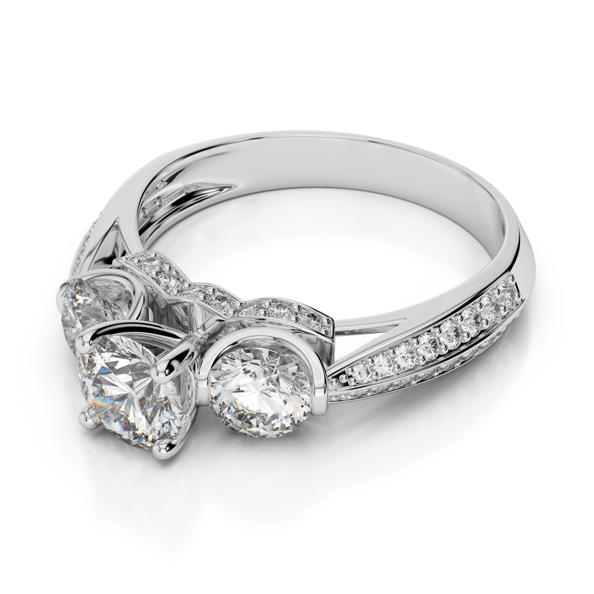 Trendy Diamond Three Stone Engagement Ring